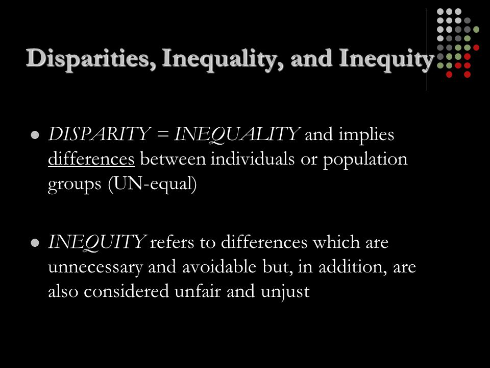 Disparities, Inequality, and Inequity