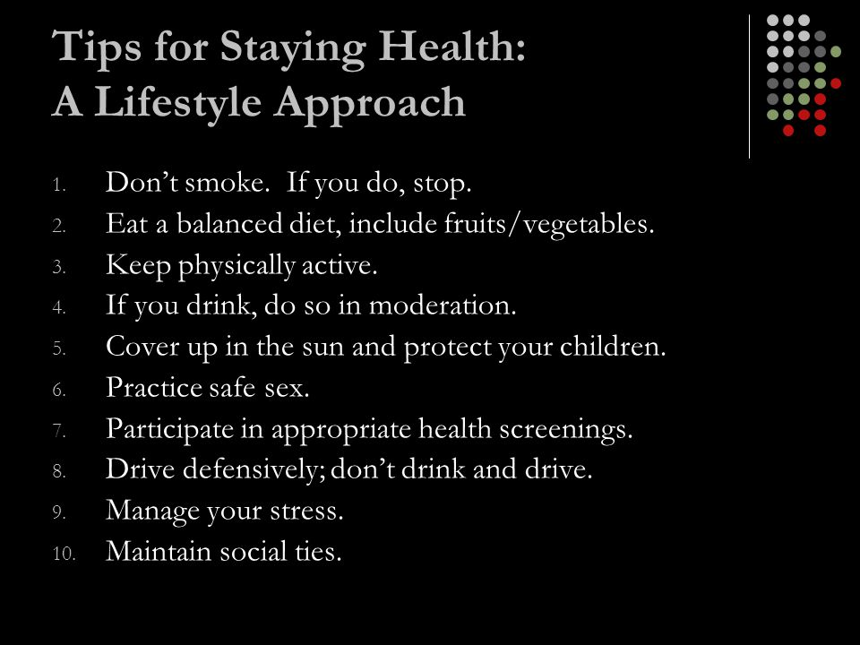 Tips for Staying Health: A Lifestyle Approach
