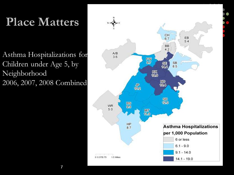 Place Matters Asthma Hospitalizations for Children under Age 5, by Neighborhood. 2006, 2007, 2008 Combined.