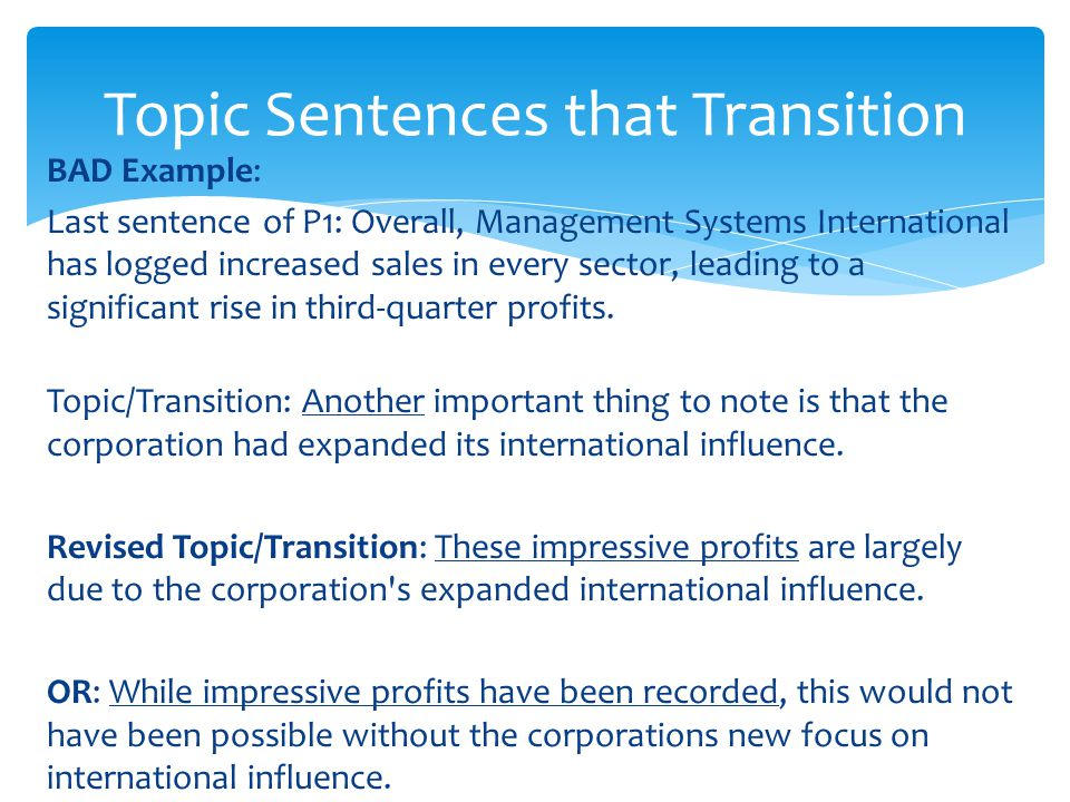 Topic Sentences that Transition