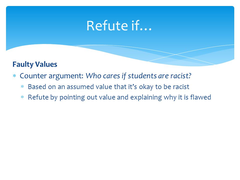 Refute if… Faulty Values