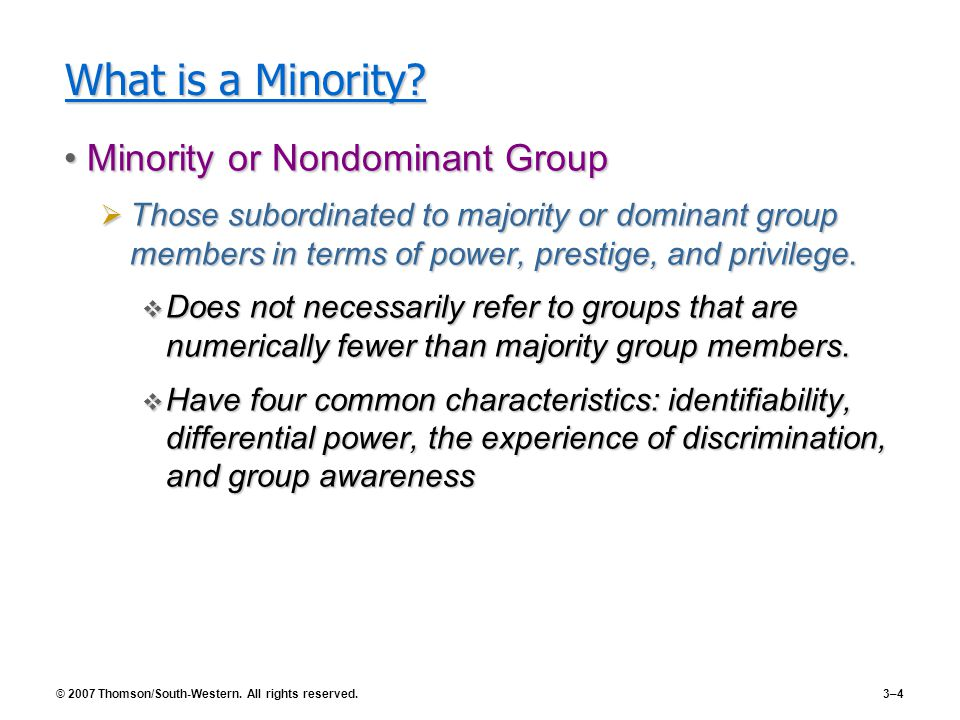 What is a Minority Minority or Nondominant Group