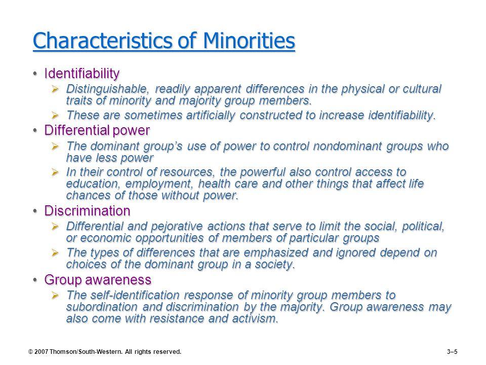 Characteristics of Minorities