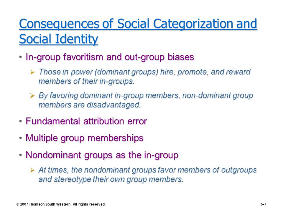 Consequences of Social Categorization and Social Identity