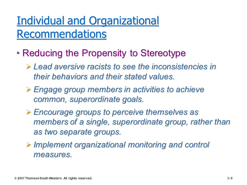 Individual and Organizational Recommendations