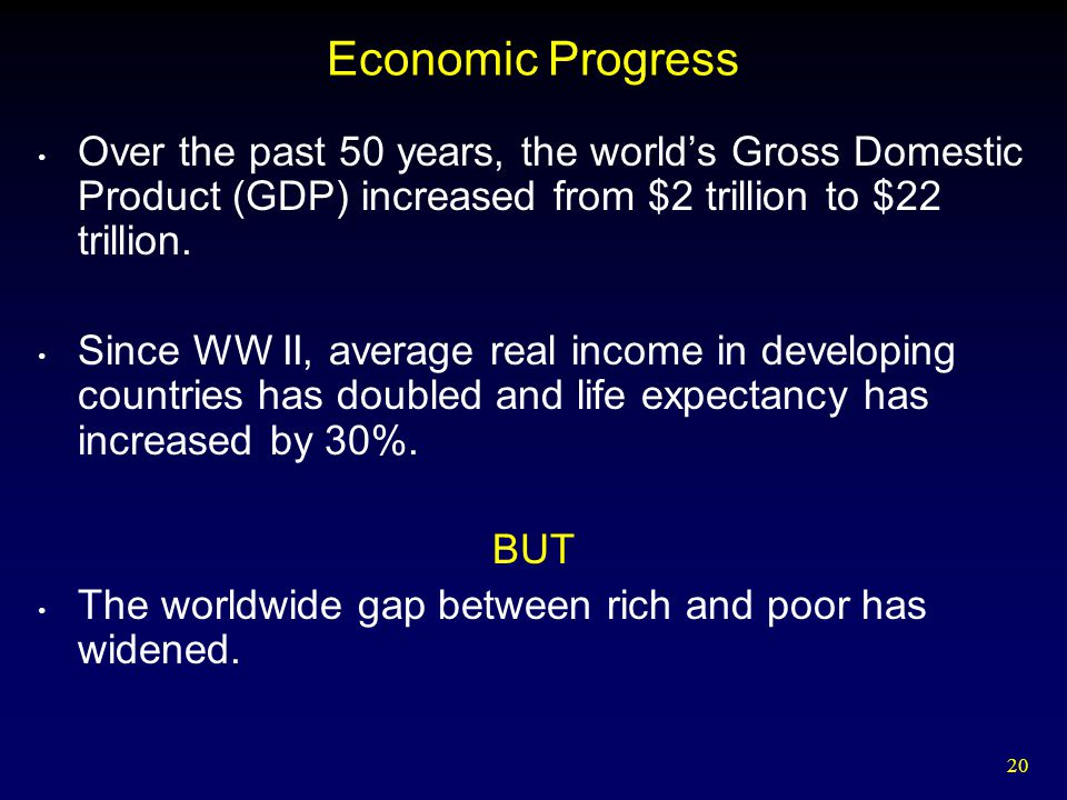 Economic Progress Over the past 50 years, the world's Gross Domestic Product (GDP) increased from $2 trillion to $22 trillion.