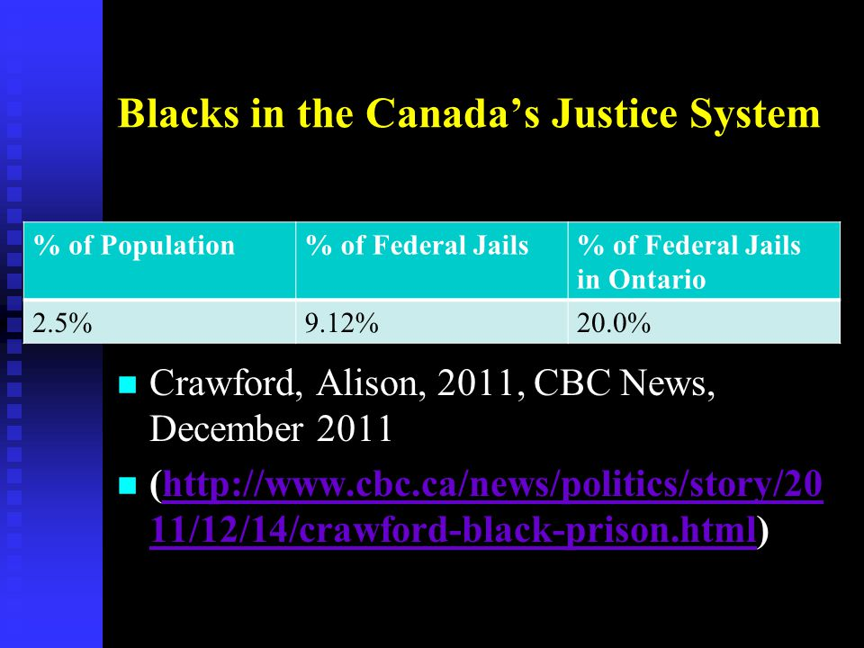Blacks in the Canada's Justice System