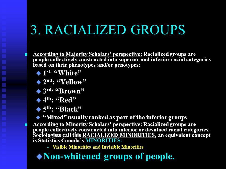 3. RACIALIZED GROUPS Non-whitened groups of people. 1st: White