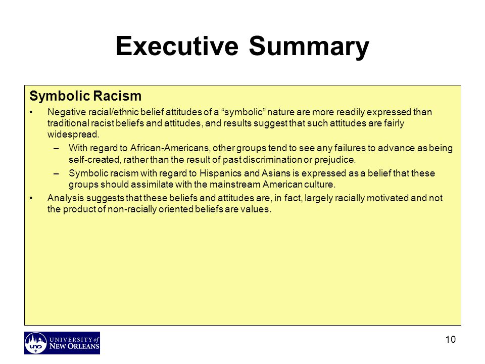Executive Summary Symbolic Racism