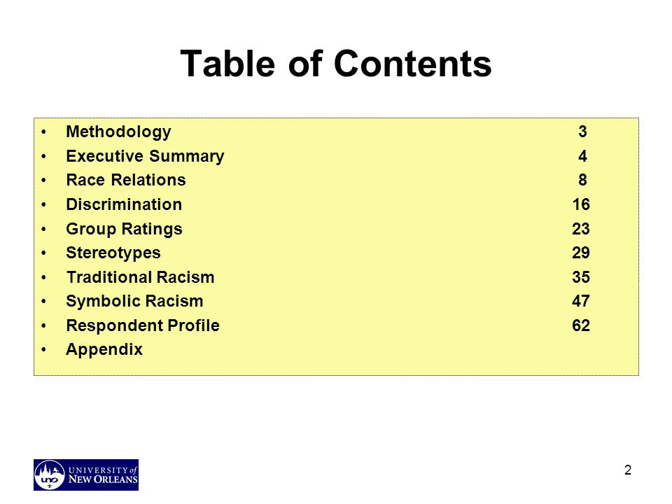 Table of Contents Methodology 3 Executive Summary 4 Race Relations 8