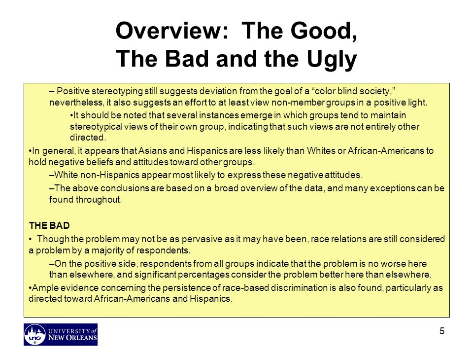 Overview: The Good, The Bad and the Ugly