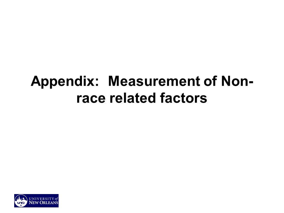 Appendix: Measurement of Non-race related factors