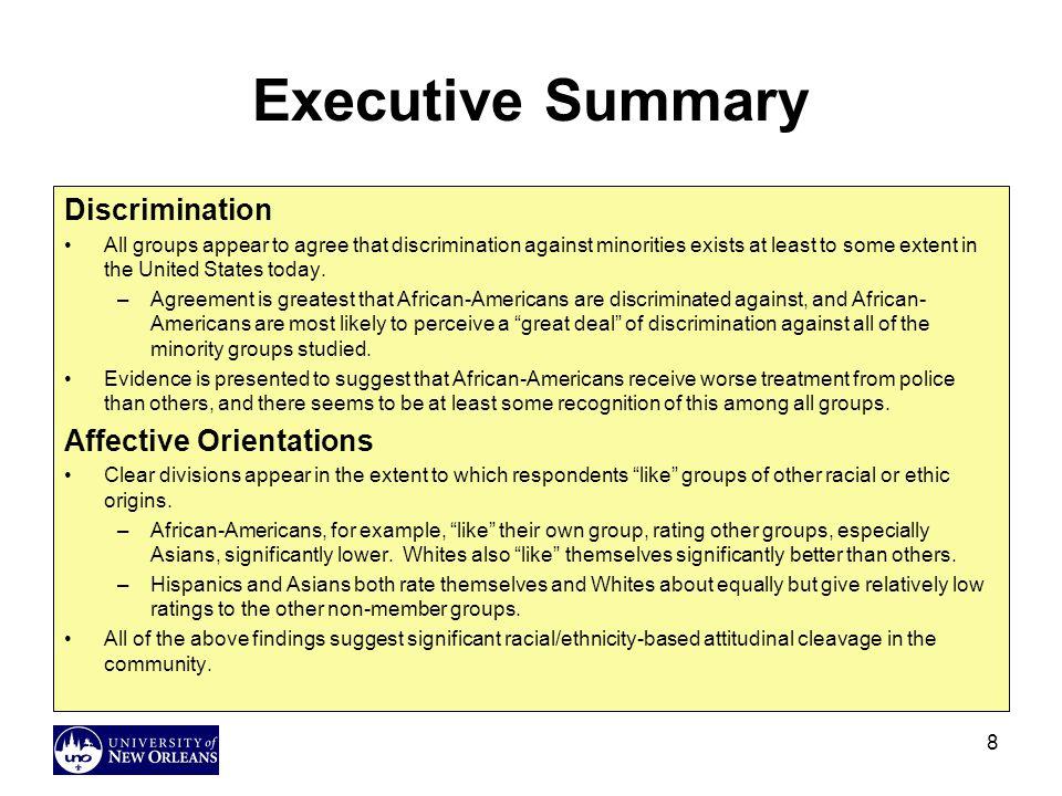 Executive Summary Discrimination Affective Orientations