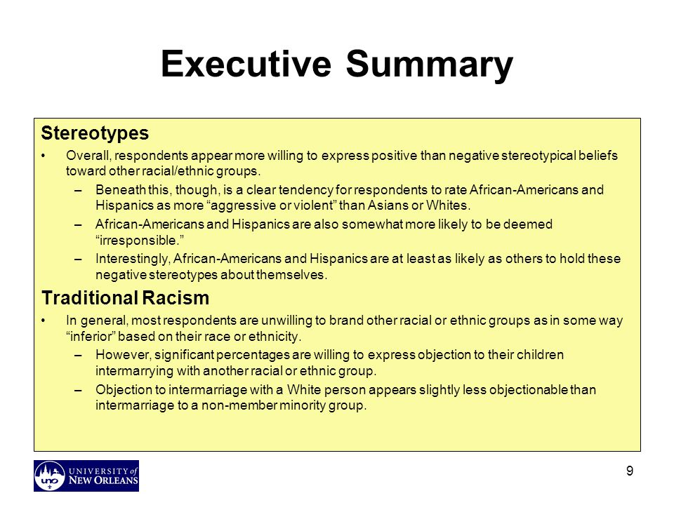 Executive Summary Stereotypes Traditional Racism