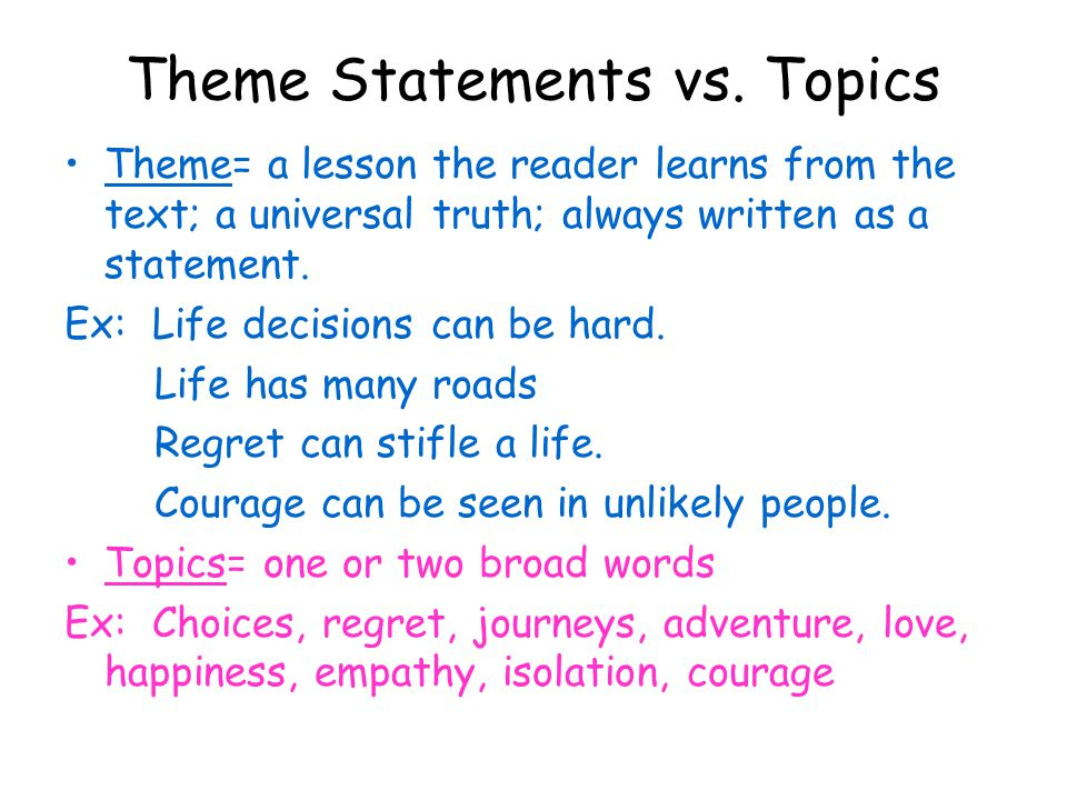 theme in an essay At some point in your literature studies, you will be required to compare two novels comparing themes and characters in novels are common.