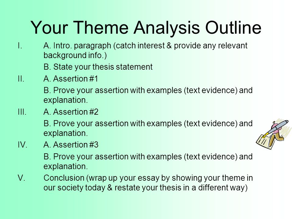 theme essay format Theme essays are structured around a predetermined theme mentioned in an assignment prompt to write a thorough theme essay, you'll need to read the prompt carefully and outline your essay then, you can write a strong essay with a hook opening line and a focus on theme always revise your essay for flow, style, and legibility.