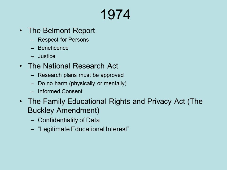 1974 The Belmont Report The National Research Act