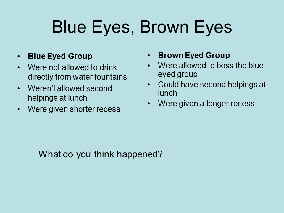 Blue Eyes, Brown Eyes What do you think happened Blue Eyed Group