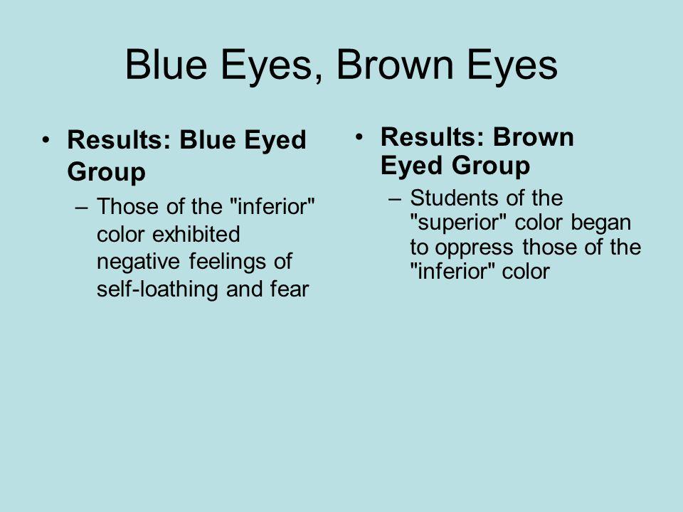 Blue Eyes, Brown Eyes Results: Blue Eyed Group