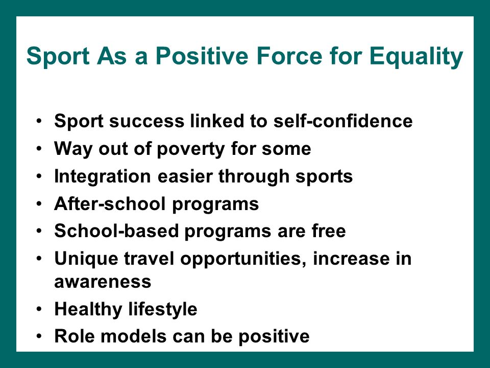 Sport As a Positive Force for Equality