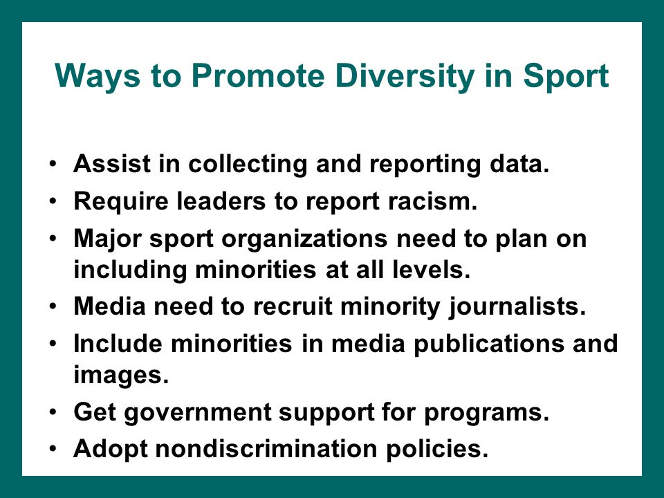 Ways to Promote Diversity in Sport