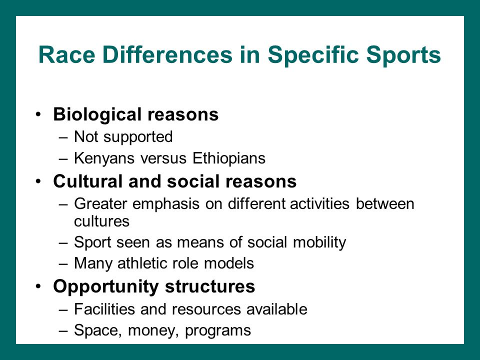 Race Differences in Specific Sports