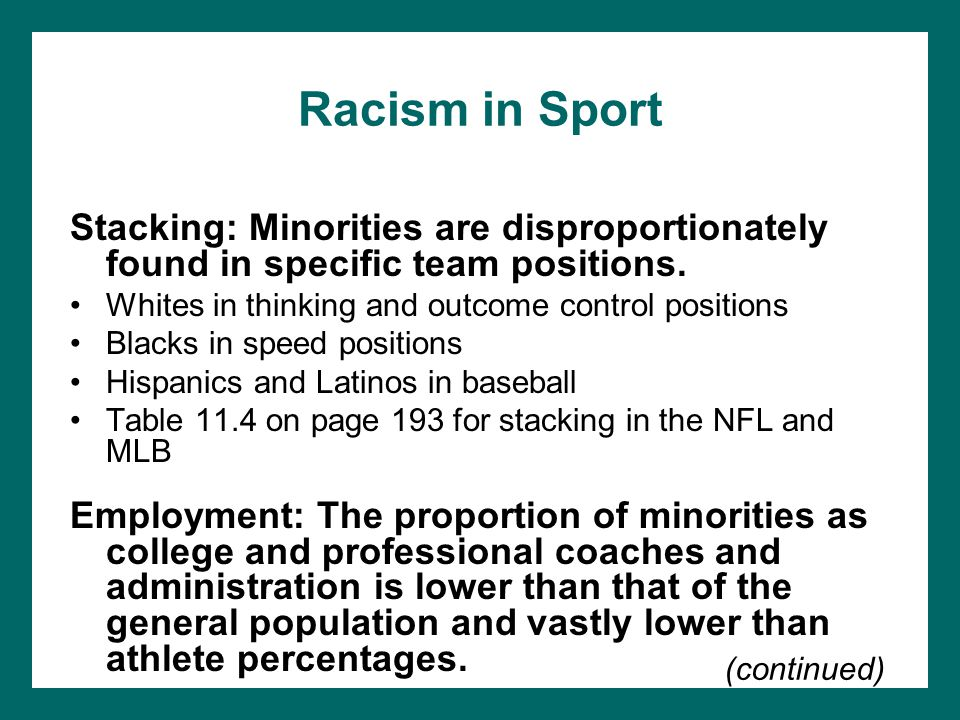 Racism in Sport Stacking: Minorities are disproportionately found in specific team positions. Whites in thinking and outcome control positions.
