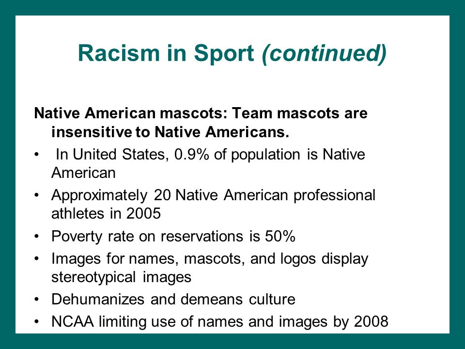 Racism in Sport (continued)