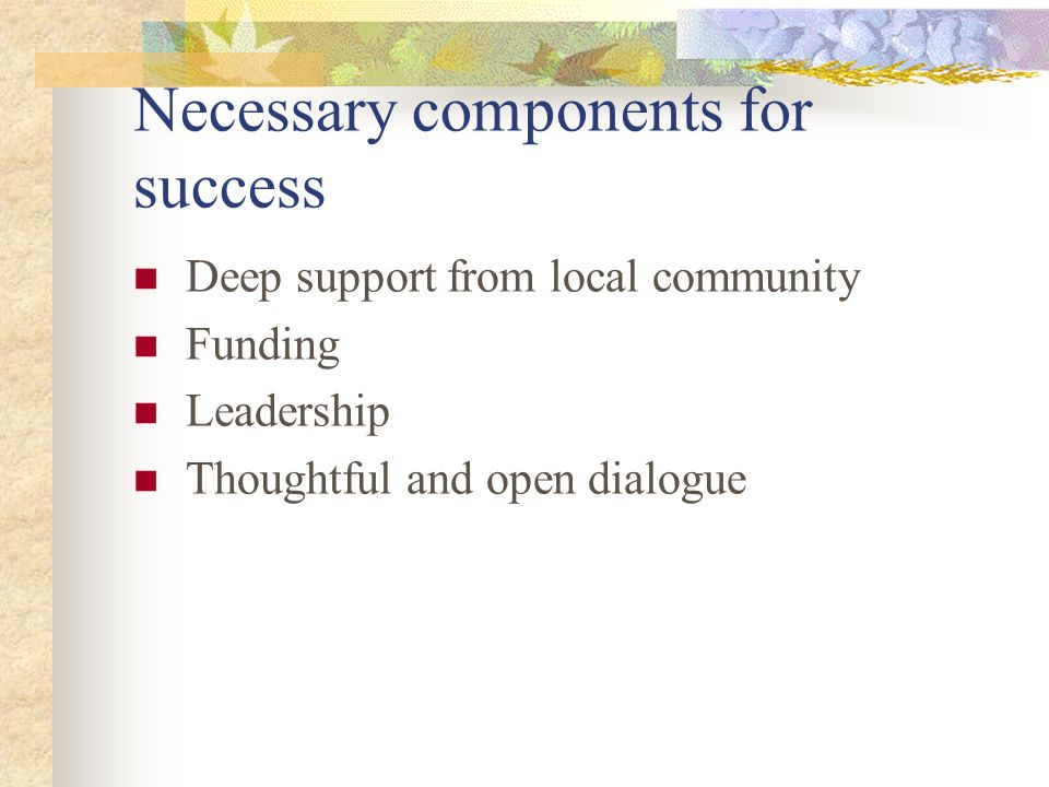 Necessary components for success