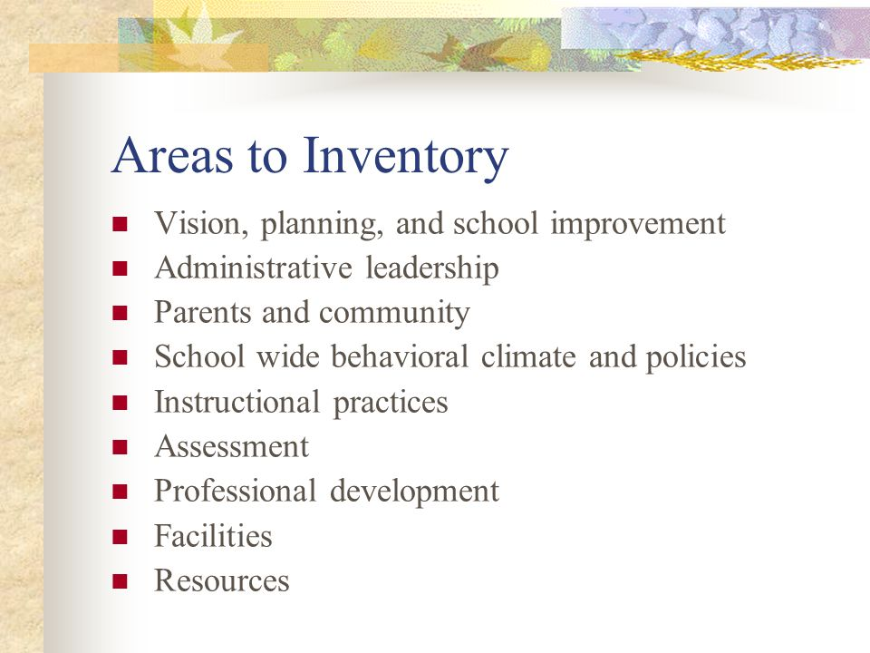 Areas to Inventory Vision, planning, and school improvement