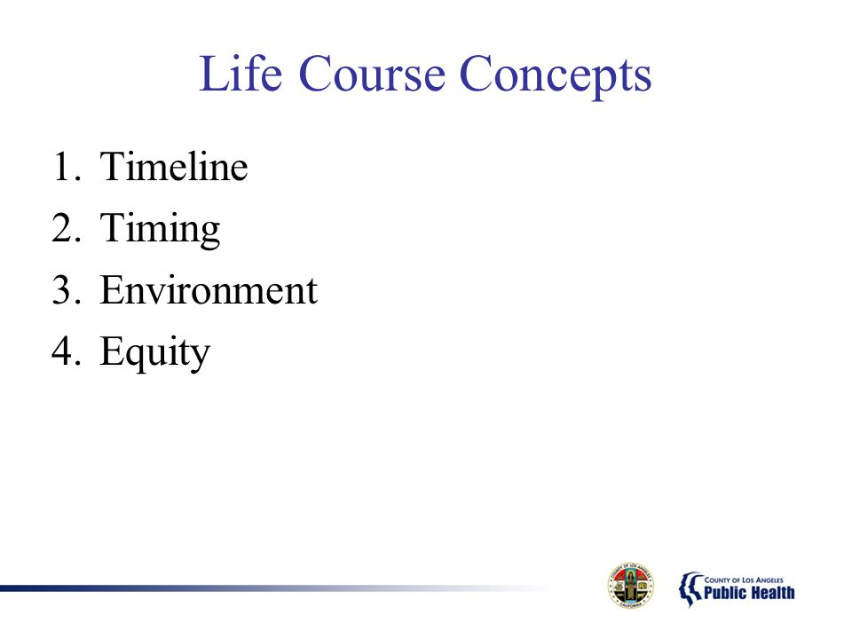 Life Course Concepts Timeline Timing Environment Equity