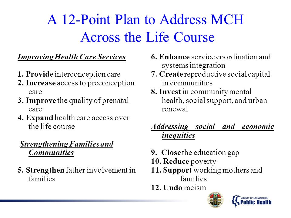 A 12-Point Plan to Address MCH Across the Life Course
