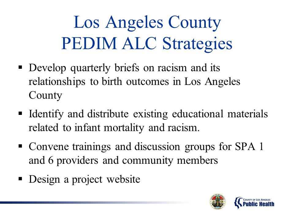 Los Angeles County PEDIM ALC Strategies