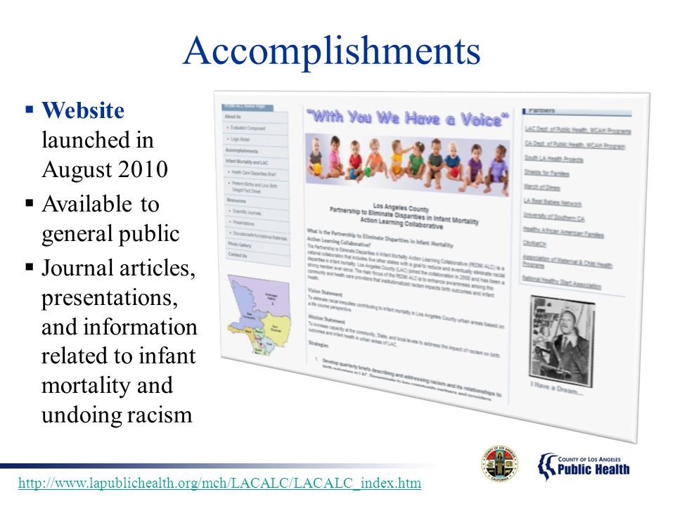 Accomplishments Website launched in August 2010
