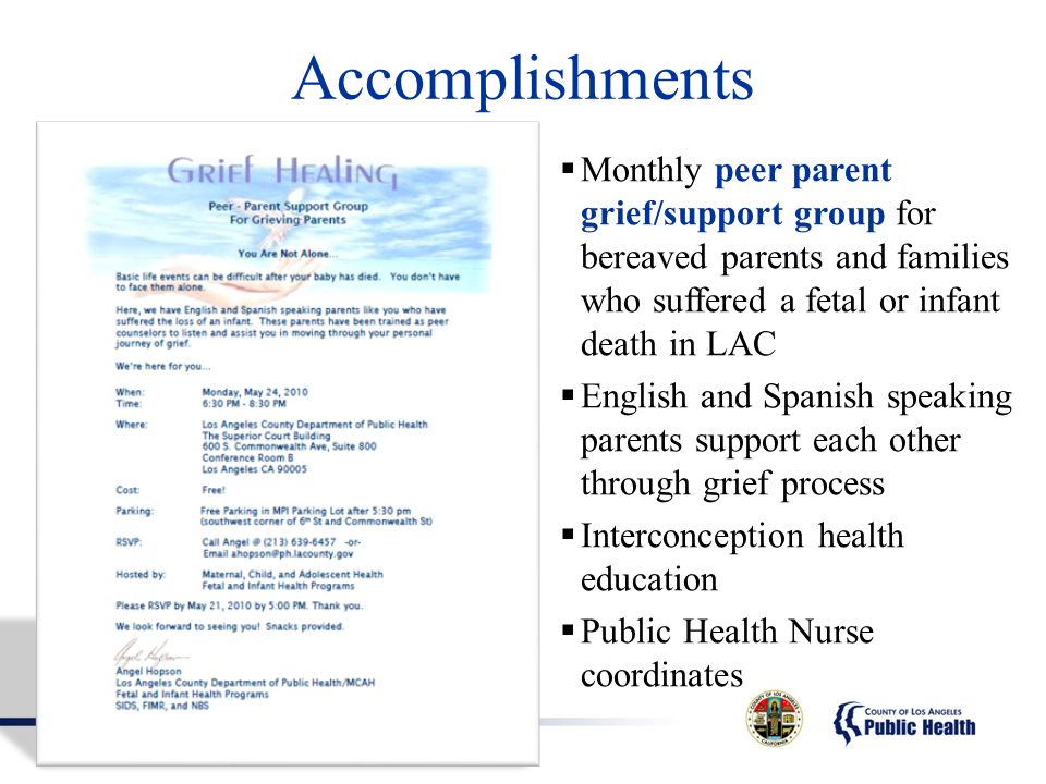 Accomplishments Monthly peer parent grief/support group for bereaved parents and families who suffered a fetal or infant death in LAC.