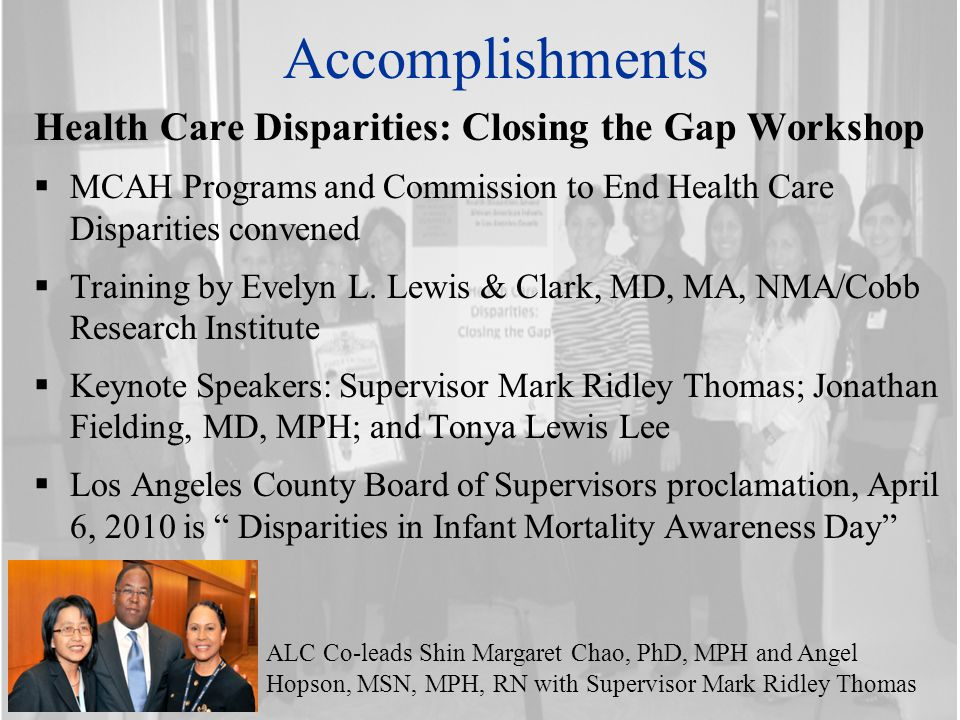 Accomplishments Health Care Disparities: Closing the Gap Workshop