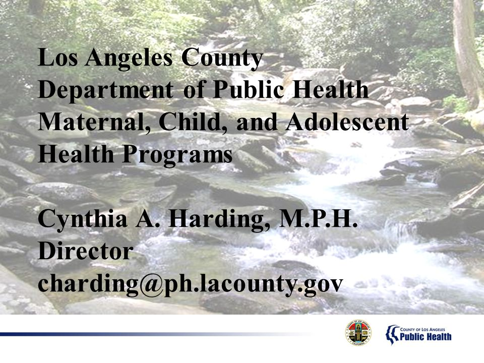 Los Angeles County Department of Public Health. Maternal, Child, and Adolescent Health Programs. Cynthia A. Harding, M.P.H. Director.