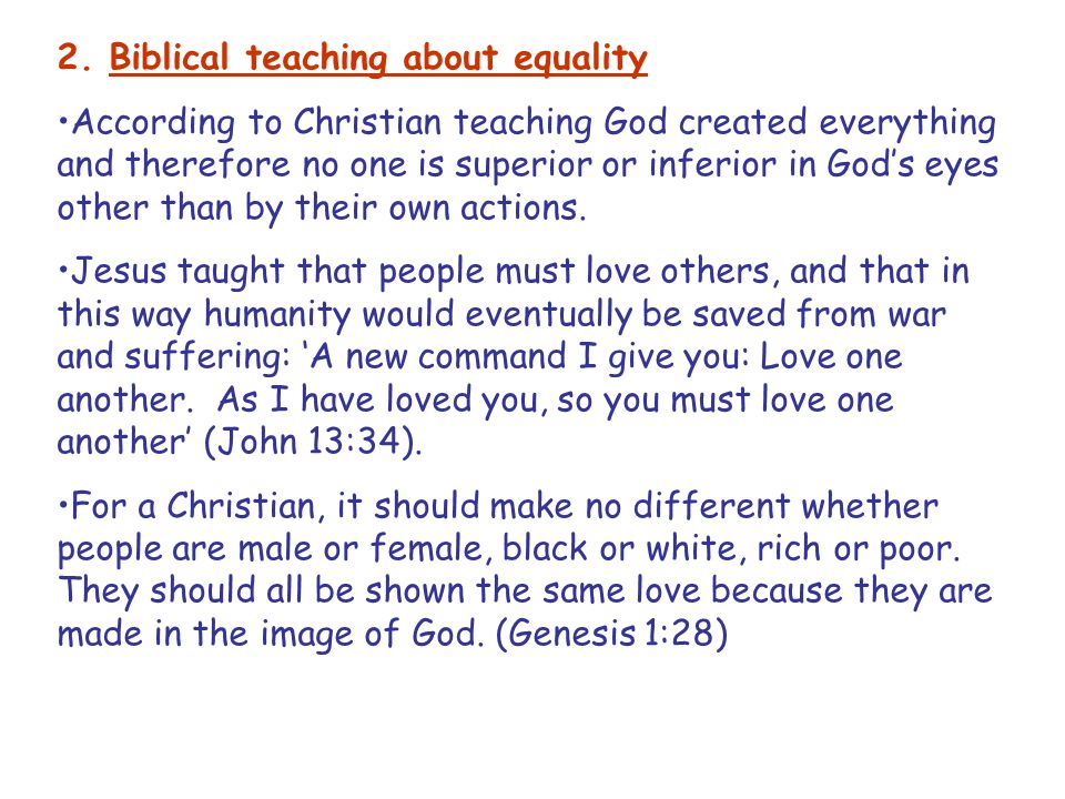 2. Biblical teaching about equality