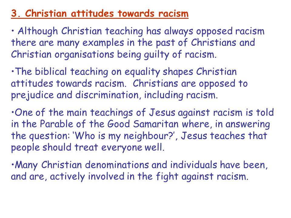 3. Christian attitudes towards racism