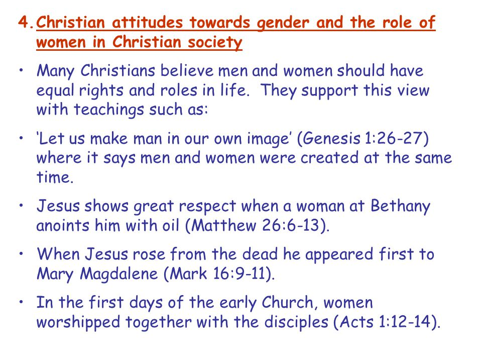 Christian attitudes towards gender and the role of women in Christian society