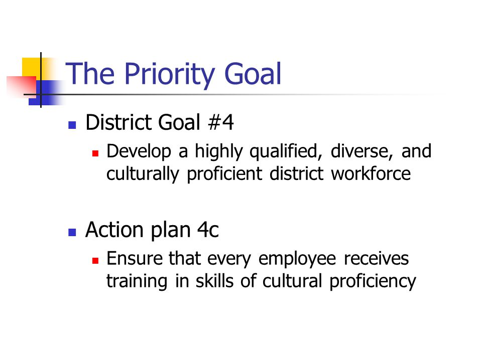 The Priority Goal District Goal #4 Action plan 4c