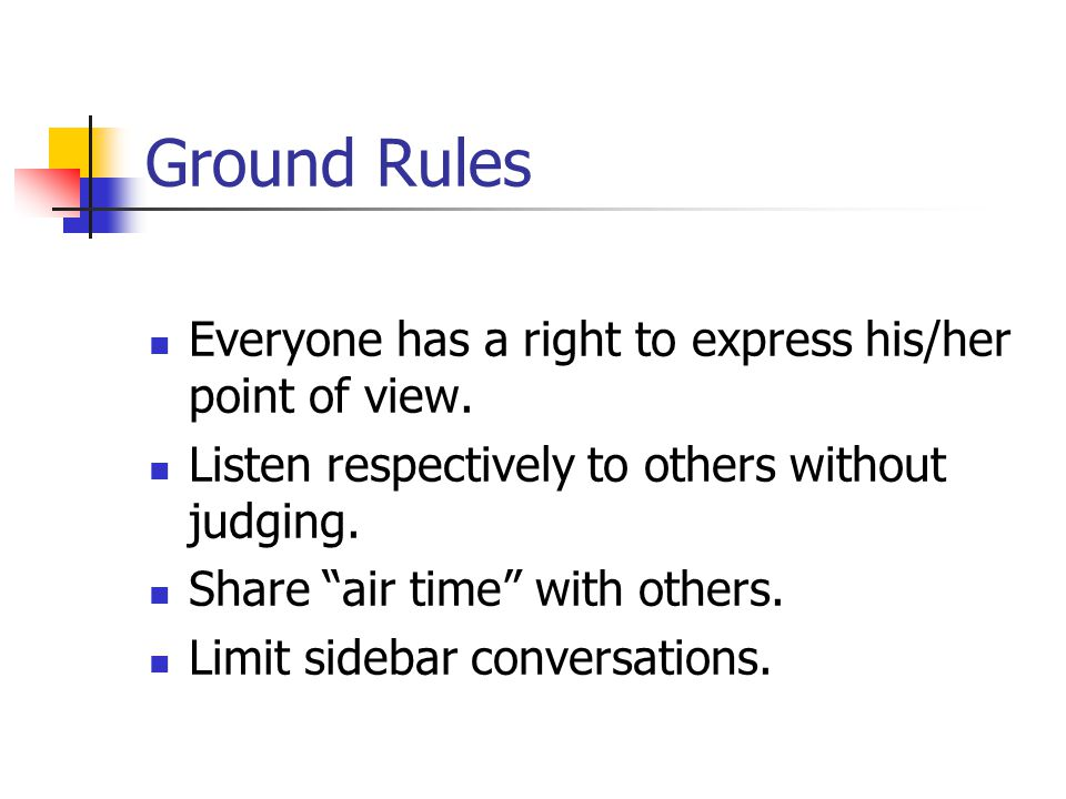 Ground Rules Everyone has a right to express his/her point of view.