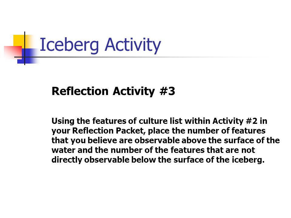 Iceberg Activity Reflection Activity #3
