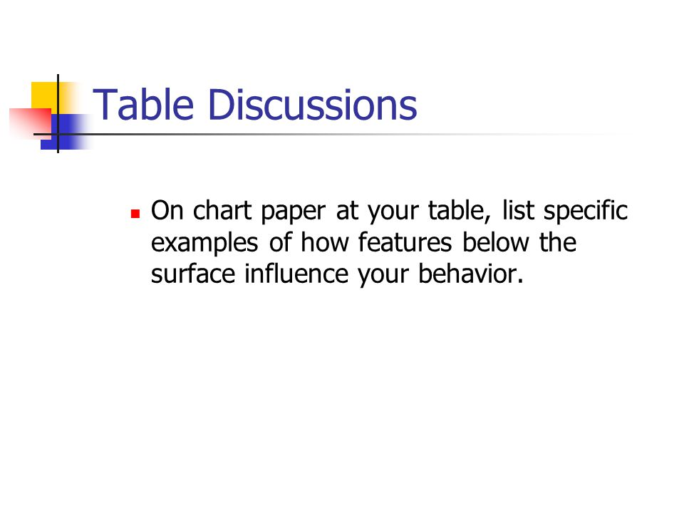 Table Discussions On chart paper at your table, list specific examples of how features below the surface influence your behavior.