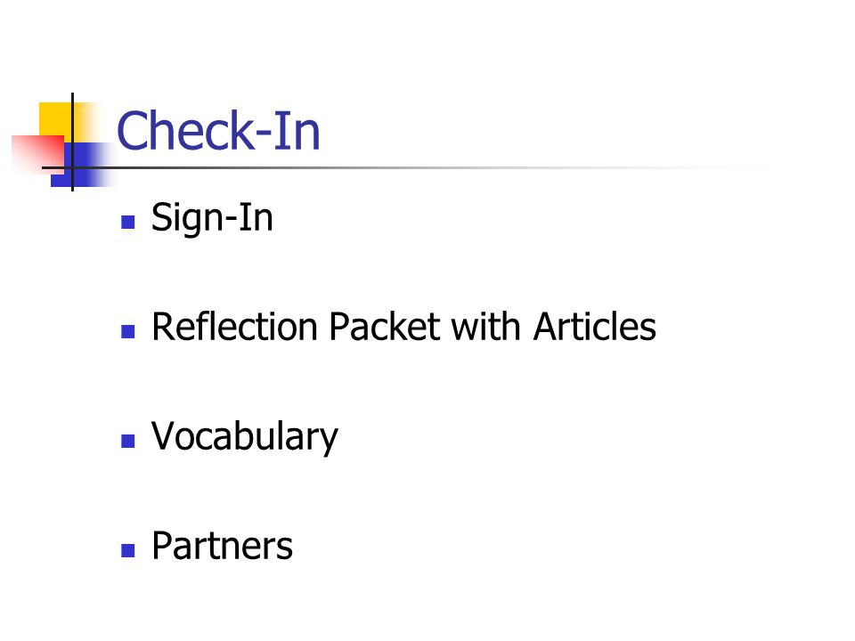 Check-In Sign-In Reflection Packet with Articles Vocabulary Partners