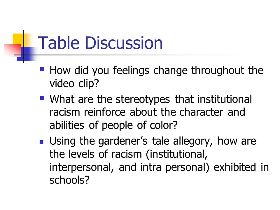 Table Discussion How did you feelings change throughout the video clip
