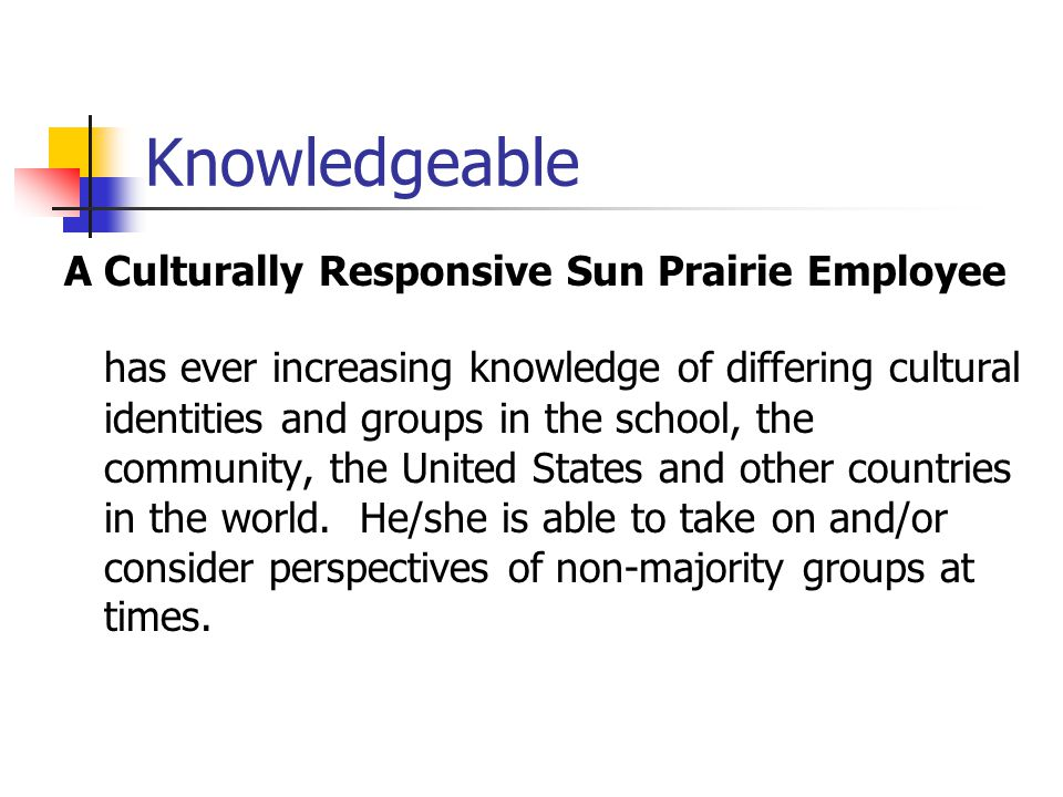 Knowledgeable A Culturally Responsive Sun Prairie Employee.