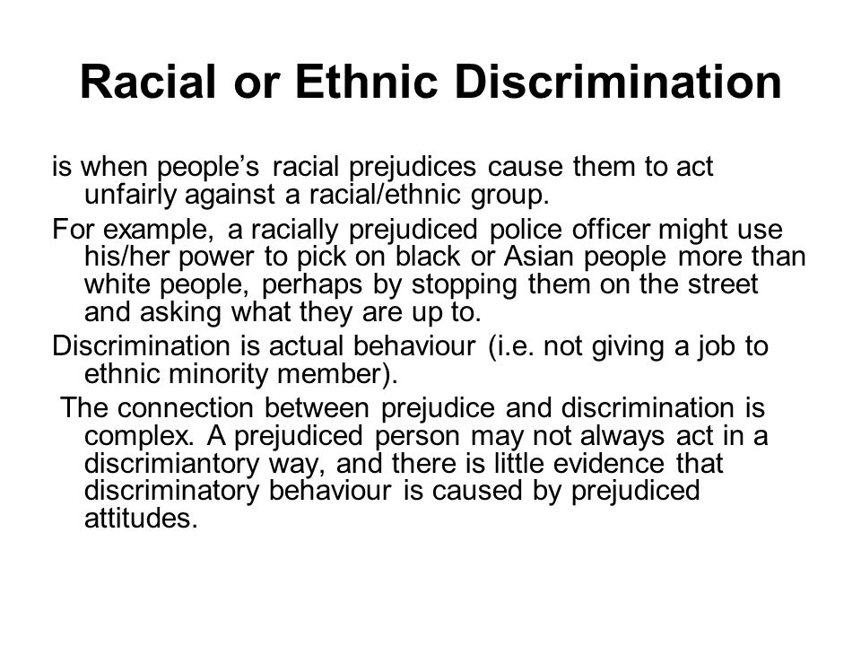 Racial or Ethnic Discrimination