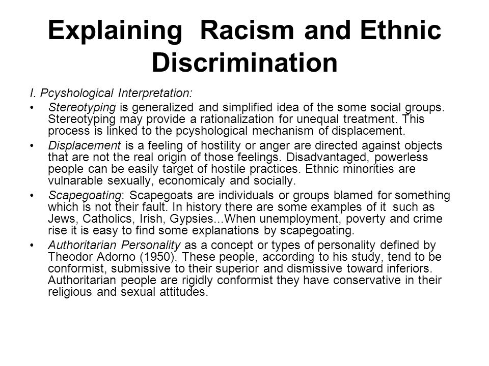 Explaining Racism and Ethnic Discrimination