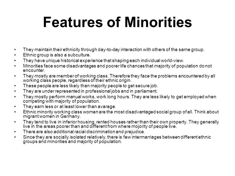 Features of Minorities